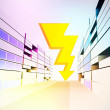 Vector de stock : Thunderbolt strike in colorful city street vector