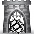 Gate pass to cinematography with movie tape vector — Stock Vector