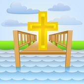River pier as christian religion worship place vector — Stock Vector