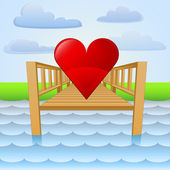 River pier with summer love vector — Stock Vector