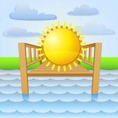 River pier with summer sun relaxing vector — Stock Vector