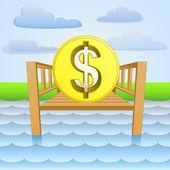 River pier with dollar business ideas vector — Stock Vector