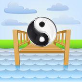 River pier with yin and yang summer meditation vector — Vector de stock