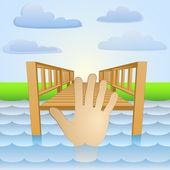 River pier with human hand in water vector — Stock Vector