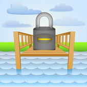 River pier with guarding closed padlock vector — Stock Vector