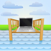 River pier with notebook web surfing relax vector — Stockvektor
