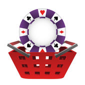 Red basket shopping with poker chip vector — Stock Vector