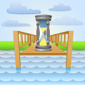 River pier with summer time passing vector — Stok Vektör