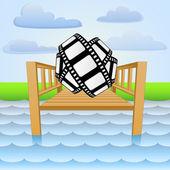 Nehir iskele film teyp vektör rahatlatıcı ile — Stok Vektör