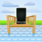 River pier with smart-phone chat relaxing vector — Stockvektor