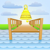 River pier with ringing golden bell vector — Stock Vector
