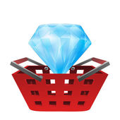 Red basket shopping with luxury diamond vector — Stockvector