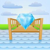 River pier with luxurious diamond gift vector — Stock Vector