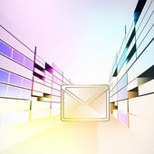 Email message in colorful city street vector — Stock vektor