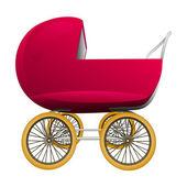 Super retro red baby carriage vector — Stockvector