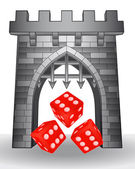 Gate pass to gaming with red dice vector — Stock Vector