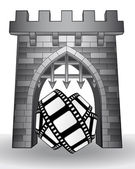 Gate pass to cinematography with movie tape vector — 图库矢量图片