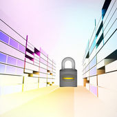 Security padlock in colorful city street vector — Stock Vector
