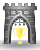 Gate pass to gold champions trophy vector — Stock vektor
