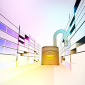 Opened security padlock in colorful city street vector — Stock Vector