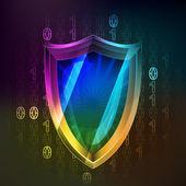 Anti virus protecting in binary internet space vector — Stock Vector