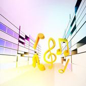 Modern music in colorful city street vector — Stock Vector