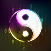 Harmony religion in binary internet modern space — Vector de stock