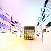 Kalkulator w kolorowe biznesowe miasto ulica wektor — Wektor stockowy