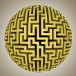 Gold yellow maze sphere planet shape — Stock Photo