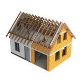 Roubené stavby domu design přechod — Stock fotografie