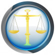 Stock Vector: Weight of justice in shiny glass circle button vector