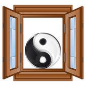 Open window to yin and yang home harmony vector — Stock Vector