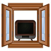 открыть окно для телевидения развлечения вектор — Cтоковый вектор