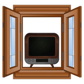 Open window to television entertainment vector — Stock Vector
