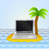 Lonely island with notebook internet surfing vector — Stockvector