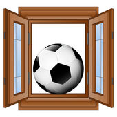 Open window to football match fun vector — Stock Vector