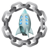 Strong chain protecting space ship program vector — Stockvector