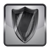 Black and white icon with antiviral shield vector — Vector de stock