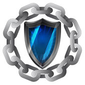 Strong chain and shield protecting security vector — Vector de stock
