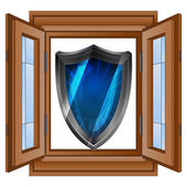 Open window and security shield protector vector — Stok Vektör
