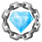 Strong chain protecting diamond luxury vector — Vettoriale Stock