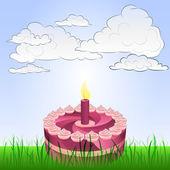 Birthday celebration in peaceful landscape vector — Stock Vector