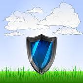 Shield guard in peaceful landscape vector — Stock Vector
