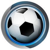 Piłka nożna ikona w błyszczące szkło koło przycisk wektor — Wektor stockowy
