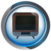 Retro television in shiny glass circle button vector — Wektor stockowy