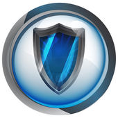 Anti-vírus escudo no vetor de botão de círculo de vidro brilhante — Vetorial Stock