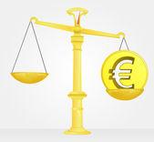 Weight measure of euro money value vector — Stock Vector