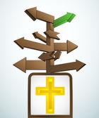 Skyltat navigering till närmaste kyrka vektorn — Stockvektor