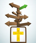 Wegweiser navigation zum nächsten kirche vektor — Stockvektor