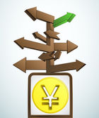 Signpost navigation to better asian business vector — Stock Vector